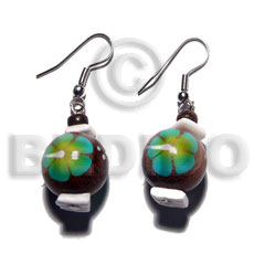 Dangling 15mm robles round wood Hand Painted Earrings
