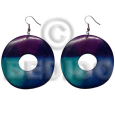 Dangling painted 40mm ring natural Hand Painted Earrings