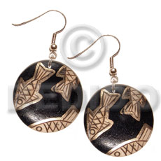 dangling 35mmx35mm nat. wood round in black , handpainted  metallic gold fish accent - Hand Painted Earrings