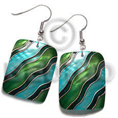 Dangling 35mmx30mm rectangular kabibe shell Hand Painted Earrings