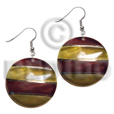 dangling handpainted and colored round 30mm kabibe shell pendant embellished  elevated /embossed metallic paint accent lines / brown and gold tones - Hand Painted Earrings