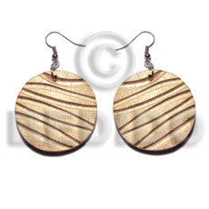 dangling 35mm round wood beads in metallic gold - Hand Painted Earrings
