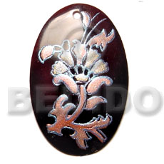 hand made Oval black tab 40mm Hand Painted Pendants