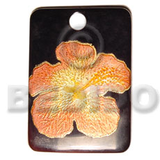 hand made Rectangular black tab 40mm Hand Painted Pendants