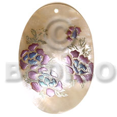 Oval 50mm kabibe shell Hand Painted Pendants