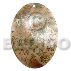 hand made Oval 50mm kabibe shell Hand Painted Pendants