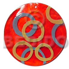 Round red 50mm capiz shell Hand Painted Pendants