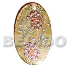 Oval 35mm mop Hand Painted Pendants