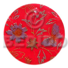 Round 35mm red hammershell Hand Painted Pendants