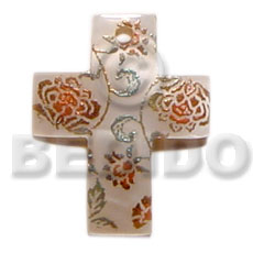 40mm cross hammershell Hand Painted Pendants
