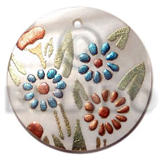 Round 40mm hammershell handpainted Hand Painted Pendants