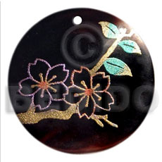 Round 40mm blacktab handpainted Hand Painted Pendants