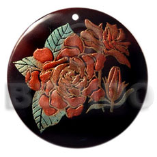 hand made Round 40mm blacktab handpainted Hand Painted Pendants