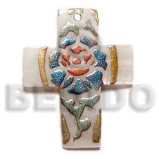 Cross 45mmx20mm kabibe shell Hand Painted Pendants