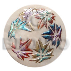 Round 50mm kabibe shell Hand Painted Pendants