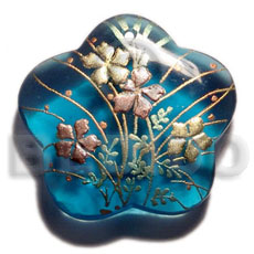 Scallop 40mm transparent blue resin Hand Painted Pendants