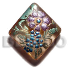 Diamond 40mm transparent brown Hand Painted Pendants