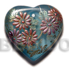 Heart 35mm transparent blue resin Hand Painted Pendants