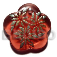 Scallop 35mm transparent red resin Hand Painted Pendants