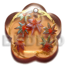 Scallop 35mm transparent orange resin Hand Painted Pendants