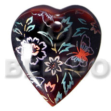 heart 50mmx40mm blacktab shell  handpainted design -  metallic/embossed hand painted using japanese materials in the form of maki-e art a traditional japanese form of hand painting - Hand Painted Pendants