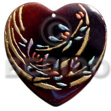 heart 50mmx45mm blacktab shell  handpainted design -  metallic/embossed / bamboo hand painted using japanese materials in the form of maki-e art a traditional japanese form of hand painting - Hand Painted Pendants