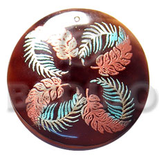 round 50mm blacktab shell  handpainted design -  metallic/embossed / ferns hand painted using japanese materials in the form of maki-e art a traditional japanese form of hand painting - Hand Painted Pendants