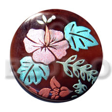 round 50mm blacktab shell  handpainted design -  metallic/embossed / floral hand painted using japanese materials in the form of maki-e art a traditional japanese form of hand painting - Hand Painted Pendants