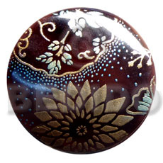 Round 50mm blacktab shell Hand Painted Pendants
