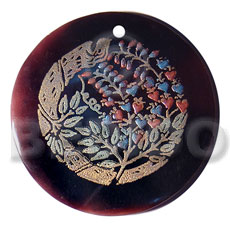 round 50mm blacktab shell  handpainted design -  metallic/embossed hand painted using japanese materials in the form of maki-e art a traditional japanese form of hand painting - Hand Painted Pendants