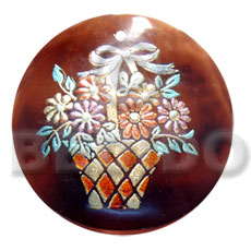 round 50mm blacktab shell  handpainted design -  metallic/embossed / basket of flowers hand painted using japanese materials in the form of maki-e art a traditional japanese form of hand painting - Hand Painted Pendants