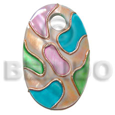Handpainted and colored oval 45mmx30mm Hand Painted Pendants