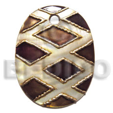 handpainted and colored oval 30mmx20mm kabibe  3mm hole shell pendant embellished  elevated /embossed metallic paint accent lines / brown and gold tones - Hand Painted Pendants