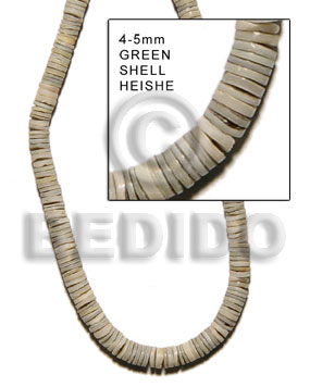 hand made 4-5mm green shell heishe Heishe Shell Beads