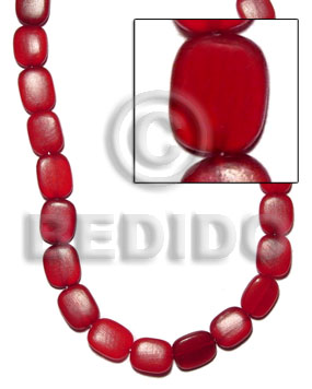 Rectangular flat red horn 14mmx17mm Horn Beads