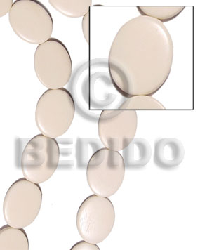 Flat oval white bone 5x20x26mm Horn Beads