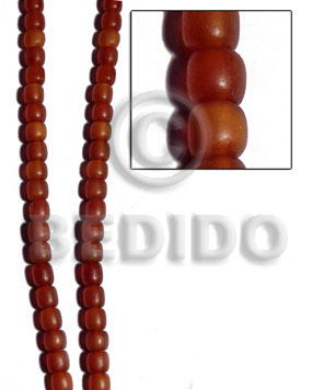 Golden horn amber barrel rounded Horn Beads