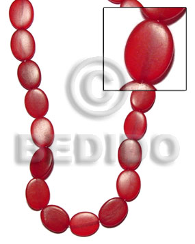 Red horn flat oval 16mmx22mm Horn Flat Rectangular Disc Beads
