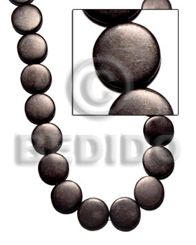 Flat round black horn 20mm Horn Flat Rectangular Disc Beads