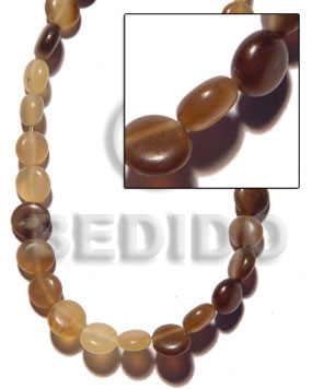 Side drill-horn natural flat round Horn Natural Beads
