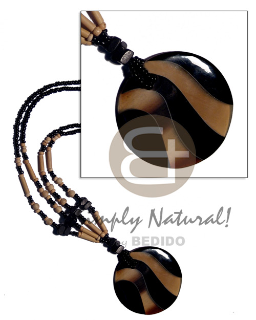 hand made Round 50mm black horn golden horn Horn Necklace