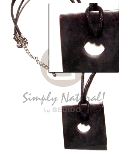 Black wax cord square Horn Necklace