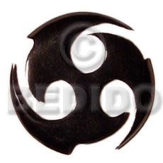 Round celtic black horn 40mm Horn Pendants