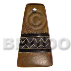 hand made Aztec carving natural horn 45mm Horn Pendants