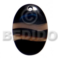 50mmx35mm oval black horn Horn Pendants