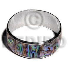 hand made Laminated inlaid paua in 1 Inlaid Metal Bangles
