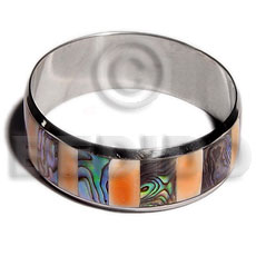Laminated inlaid paua red luhuanus Inlaid Metal Bangles