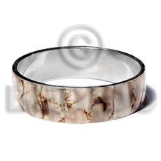 Laminated shell in 3 4 Inlaid Metal Bangles