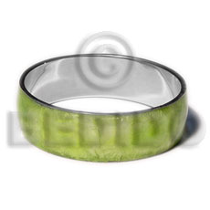 Laminated neon green capiz Inlaid Metal Bangles