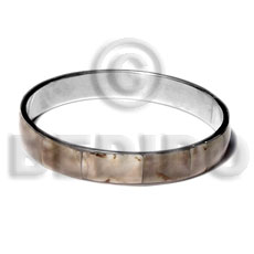 Laminated shell in 1 2 Inlaid Metal Bangles